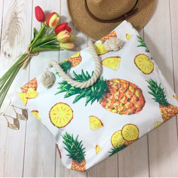 Infinity Raine Handbags - 🎉HP!🎉 LARGE Pineapple Tote Bag with Rope Handles